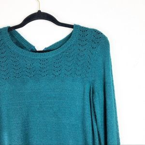 Lauren Conrad Emerald Eyelet Bell Sleeve Sweater